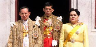 From left to right, King Bhumibol Adulyadej, then Crown Prince Vajiralongkorn, and Queen Sirikit appear at a balcony of Anantasamakom Throne Hall in Bangkok in 1999. Photo: Pornchai Kittiwongsakul / AFP