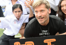 Nikolaj Coster-Waldau of 'Game of Thrones' fame with players on Saturday morning at Bangkok's NIST International School.