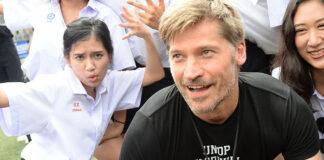 Nikolaj Coster-Waldau of 'Game of Thrones' fame with players on Saturday morning at Bangkok's NIST International School.