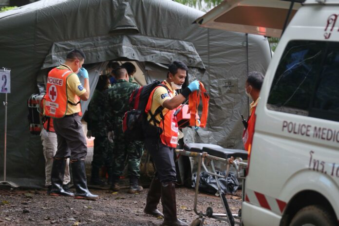 Rescue workers prepare to transport boys rescued from that Luang cave complex Sunday in Chiang Rai province in an image provided by the authorities.