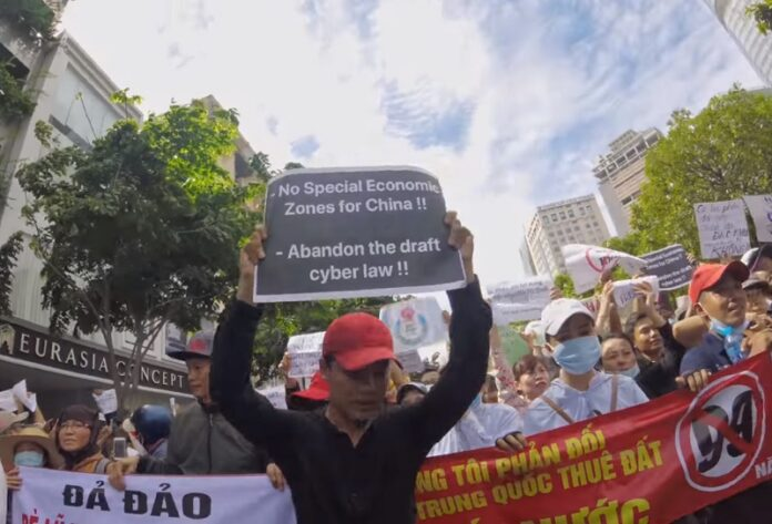 Protesters rally last month in Vietnam. Image: Trung Nguyen / YouTube