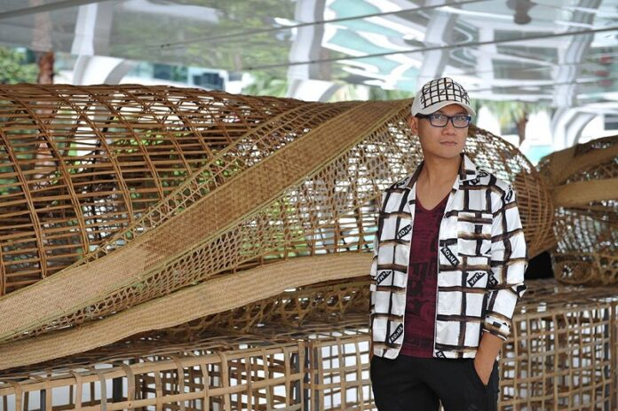 Montri Toemsombat in 2016 at the Ratchaprasong Art Maze installation in Bangkok. Photo: Toot Yung Art Center / Facebook