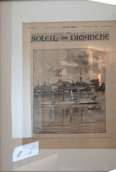An old print at on the second floor of the residence depicts the 1893 Franco-Siamese conflicts.