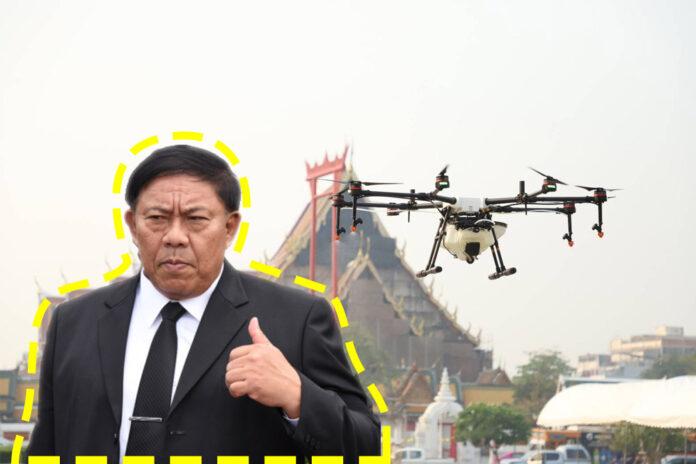 A drone flies Thursday morning near City Hall and the Grand Swing in Bangkok. Inset, Bangkok Gov. Aswin Kwanmuang in a Matichon photo.