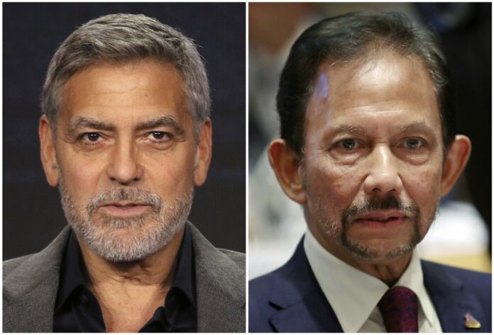 This combination of file photos shows George Clooney in Pasadena, Calif., on Feb. 11, 2019, left, and Brunei's Sultan Hassanal Bolkiah in Brussels on Oct. 18, 2018. Photo: Willy Sanjuan and Francisco Seco / Associated Press