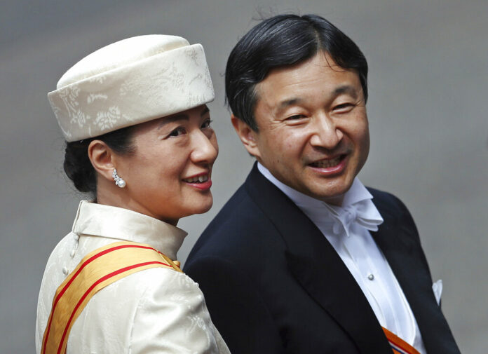 In this April 30, 2013, file photo, Japan's Crown Prince Naruhito and Crown Princess Masako arrive at the Nieuwe Kerk or New Church in Amsterdam, The Netherlands, for the inauguration of King Willem-Alexander. Photo: Dusan Vranic / Associated Press
