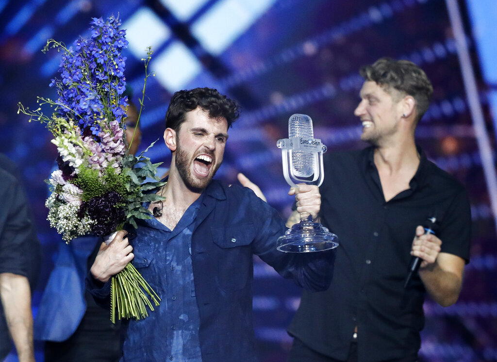 Duncan Laurence of the Netherlands celebrates after winning the 2019 Eurovision Song Contest grand final in Tel Aviv, Israel, Saturday, May 18, 2019. Photo: Sebastian Scheiner / AP