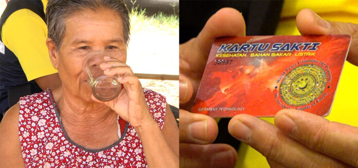 Left: Tongsri Wongchaiawet drinks a glass of water after dipping her Energy Card into it on June 11, 2019.