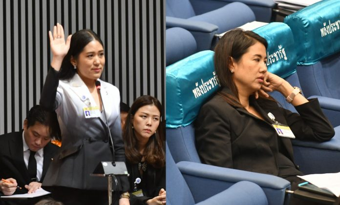 Parliament fashion feud: left, Pannika Wanich of the Future Forward Party. Right, Parina Kraikup of the Phalang Pracharath Party, both in parliament on June 5.
