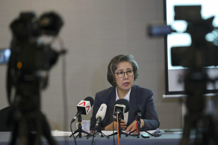 U.N. Special Rapporteur for Human Rights in Myanmar, Lee Yanghee, speaks during a press conference in Kuala Lumpur, Thursday, July 18, 2019. Photo: Vincent Thian / AP