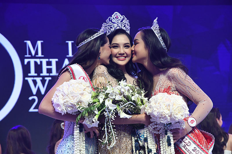 "From left to right: second runner-up is Dusita ""Ners"" Tipkomut, Miss Thailand World 2019, and first runner-up Pamolchanok ""Paen Film"" Dilkrutsakul on Aug. 3, 2019."