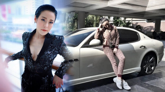 "A file photo of Panita ""Ning"" Tumwattana, left. A now-deleted photo of herself with a Maserati, right. Photo: Ningpanita / Instagram"