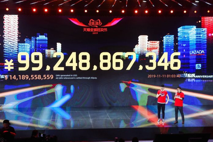Alibaba tracks the net worth of 11.11 sales on Nov. 11, 2019 in Hangzhou, China.
