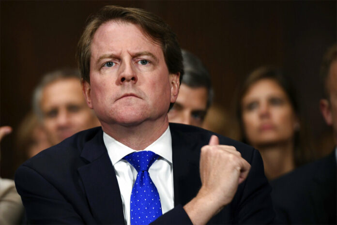 In this Sept. 27, 2018, file photo, then-White House counsel Don McGahn listens as Supreme court nominee Brett Kavanaugh testifies before the Senate Judiciary Committee on Capitol Hill in Washington. A federal judge has ordered McGahn to appear before Congress in a setback to President Donald Trump's effort to keep his top aides from testifying. The outcome could lead to renewed efforts by House Democrats to compel testimony from other high-ranking officials, including former national security adviser John Bolton. Photo: Saul Loeb / Pool Photo via AP, File