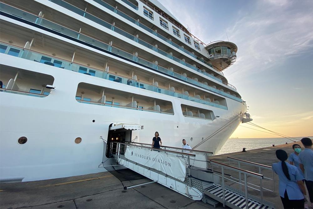 MV Seabourn Ovation docks at Phuket Port on Feb. 13, 2020.
