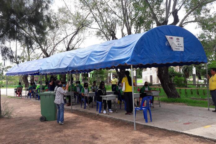 Makeshift classrooms at Ban Ta Puan Sang Saeng on July 13, 2020.