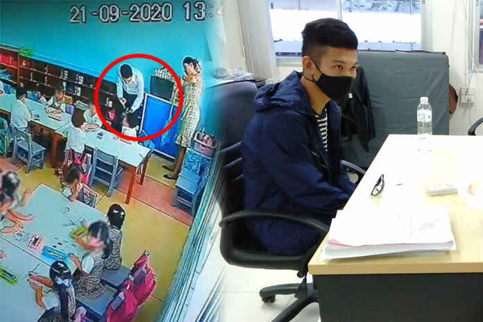 Security camera shows the alleged assault, left, Marvin at the Nonthaburi immigration office on Sept. 28, 2020, right.