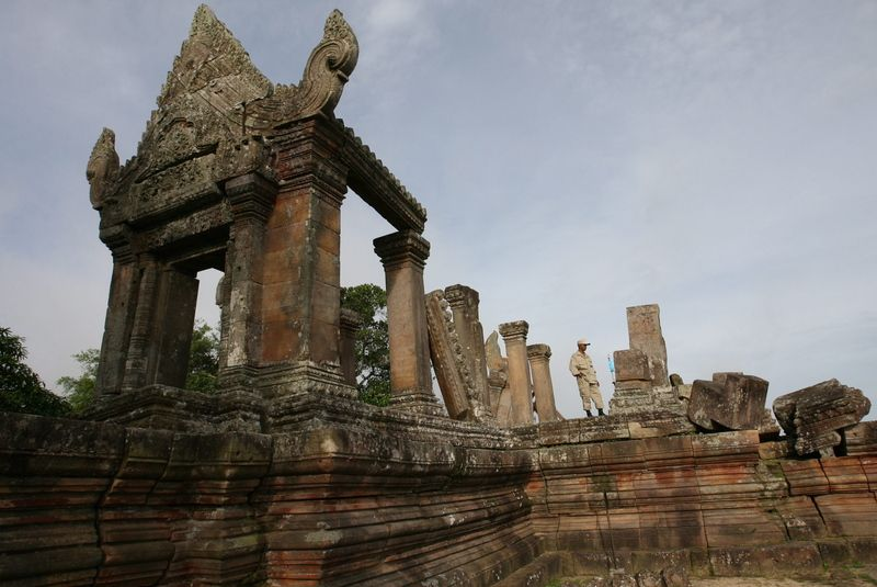 A Cambodian security officer guards the Preah Vihear temple in Preah Vihear province, Cambodia, on July 18, 2012. Photo: Mak Remissa / EPA